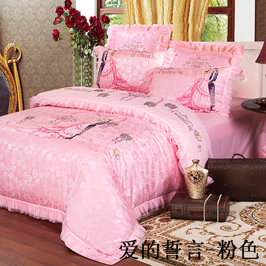 Bed sheets for wedding - Aliexpress Com Buy Princess Pink Bed Sets Luxury Wedding Bedding Palace Style Lace Dovet Cover Bed Cover Bed Sheet Queen King Size From Reliable Sheets