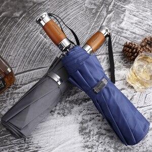 Image 5 - Echt Merk Grote Opvouwbare Paraplu Regen 1.2 Meter Business Mannen Automatische Paraplu Winddicht Mannelijke Parasol Donkerblauw En Zwart