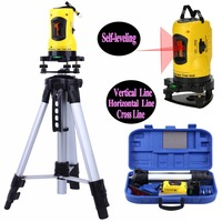 Mini portable 2 Lines Cross Laser Level Device 360 Rotary Cross Line self Leveling Vertical Horizontal with Tripod