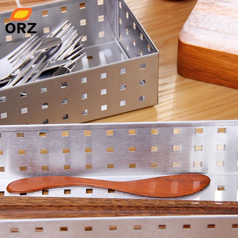 ORZ 2 stücke Besteck Trays Geschirr Ablagekorb Edelstahl Metall ...