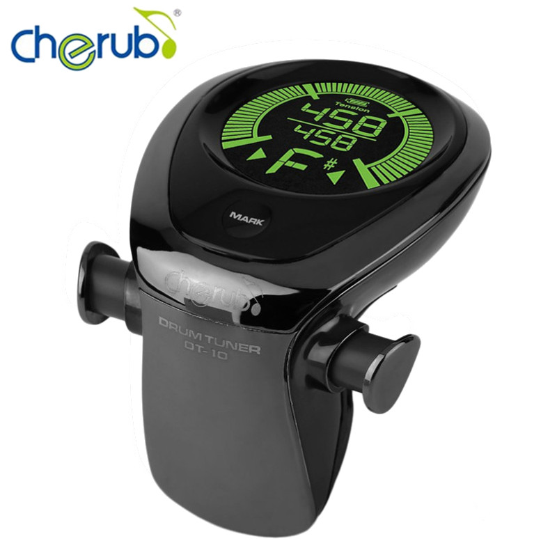 Cherub DT-10 New Black Professional Shelf Drum Tuner Tuning Table Accurate USB Rechargeable Musical Instruments Accessories cherub dt 10 drum tuner accurate built in rechargeable battery mic pick up for drum set kit