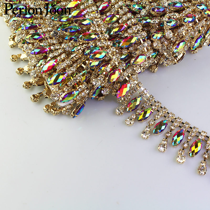 1 yard drop ab color rhinestone trim multicolor crystal gold chain for women clothing decoration shoes accessories ML057 in Rhinestones from Home Garden