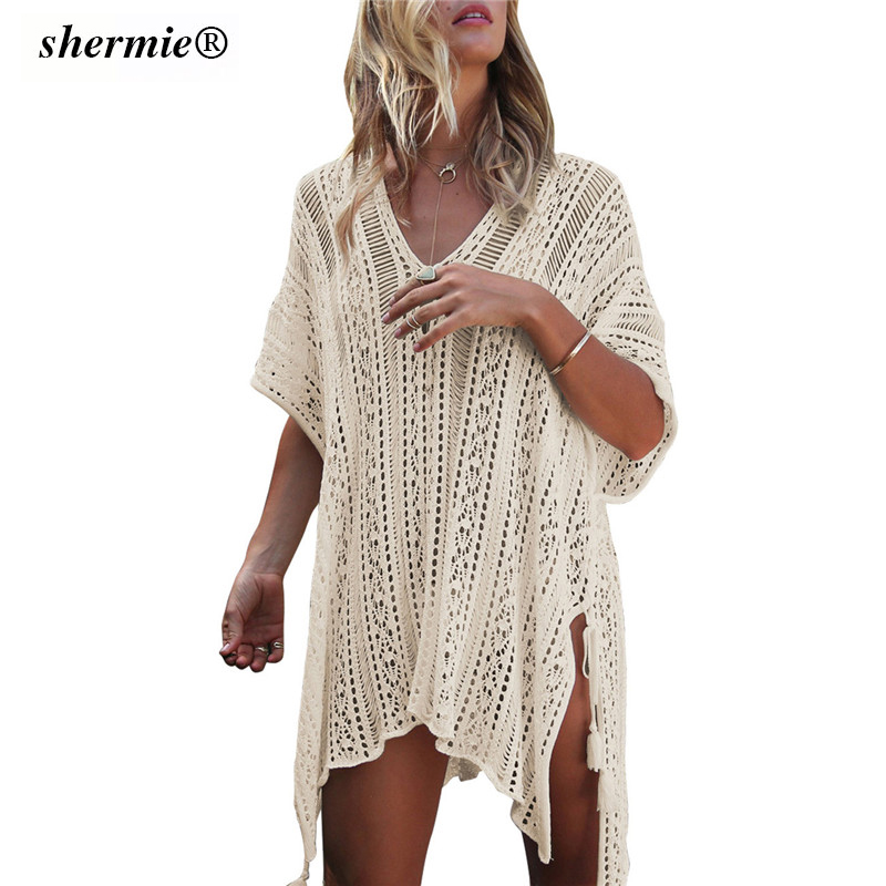 8 Colors V Neck Crochet Knitted Beach Cover Up High Splite Blouse Beach Tunic Bathing Suit Short SLeeves Beachwear Free Shipping