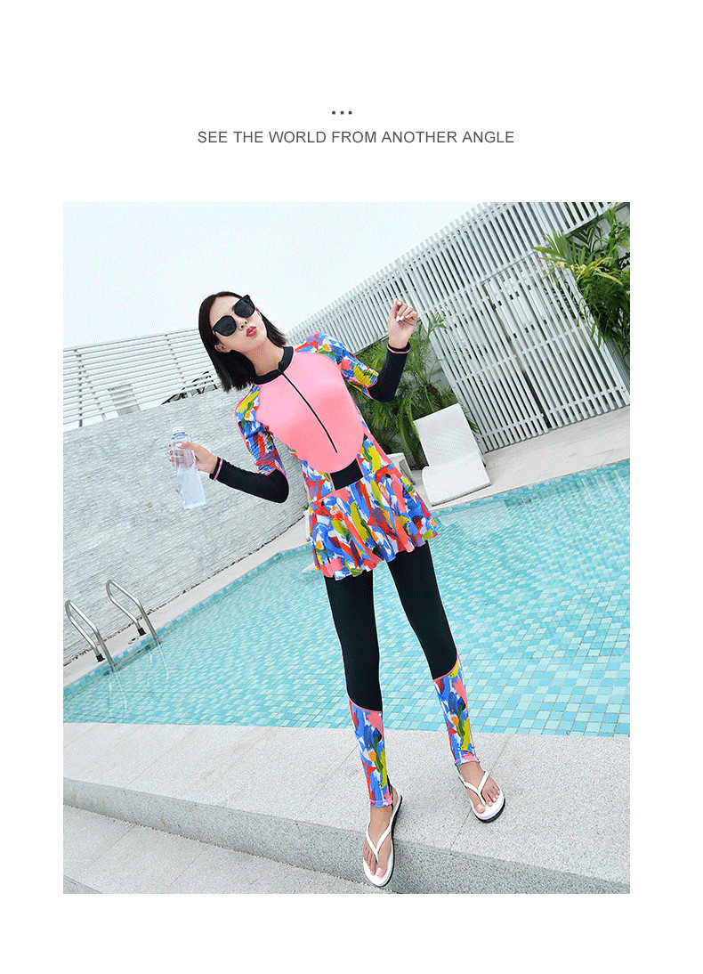 Full Body Swimsuit Long Sleeve Wetsuit Warm Wetsuit Knee Swimming Suit Dress Rush Guard Women Front Zip Muslim burkini Swimwear