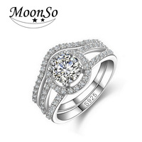 Two Gifts Luxury CZ Diamond The Promise Genuine 925 100 Pure Sterling Silver Rings For Women