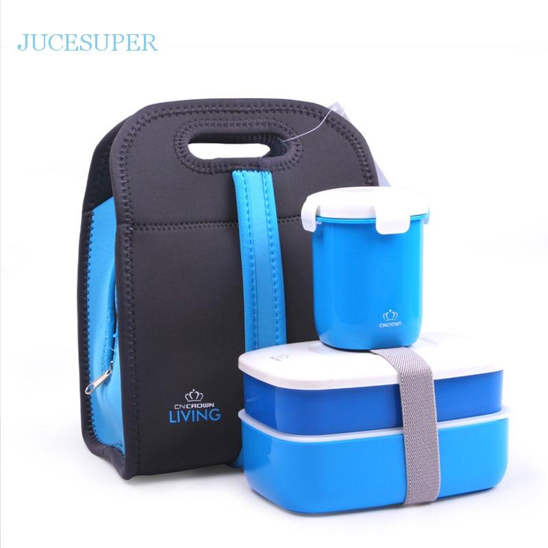 Fashion Double Portable Picnic Lunch Box Microwave Heating Simple Plastic Lid Chopstick Spoon Plate Flatware Set