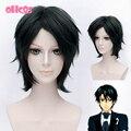 OHCOS Аниме Принц Тенниса Ryoma Этидзэн 12 дюйм(ов) Черный Короткие Синтетические Волосы Косплей Парик + Бесплатный Hairnet