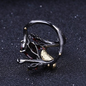 Image 4 - باليه من GEMS خاتم يدوي أصلي من الفضة الإسترليني عيار 925 على شكل فراشة على شكل فرع 2.37Ct خواتم من العقيق الأحمر الطبيعي للنساء بيجو