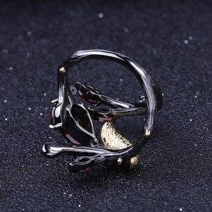 Image 4 - GEMS balet 925 srebro oryginalny Handmade motyl na gałęzi pierścień 2.37Ct naturalny czerwony granat pierścienie dla kobiet Bijoux