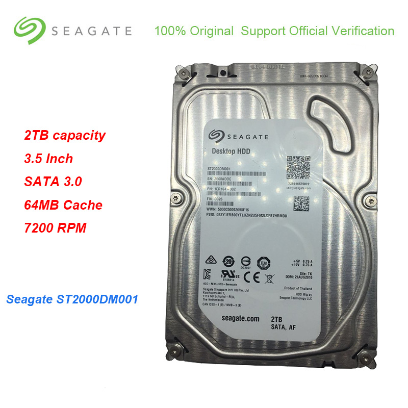 New Seagate ST2000DM001 Capacity <font><b>3.5</b></font> Inch SATA <font><b>2TB</b></font> 3.0 Internal <font><b>HDD</b></font> 64MB Cache 7200 RPM Hard Drive Disk For Desktop PC image