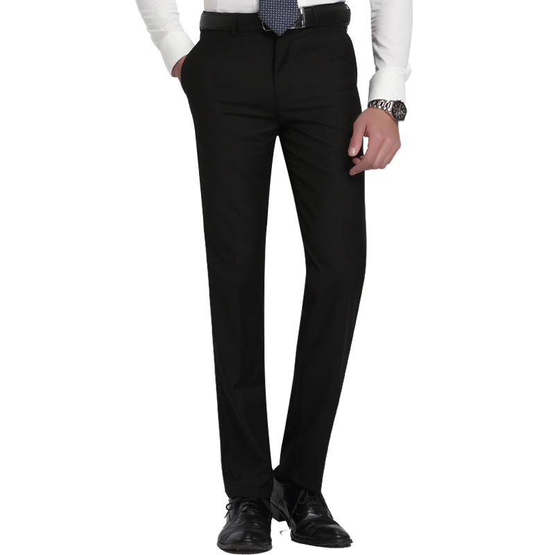 Men's Slim Fit Flat-Front Suit Separate Pant Formal Wedding Business Straight Male Trousers Light Grey Thin Office Dress Pants