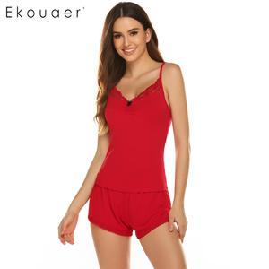 Image 5 - Ekouaer女性セクシーなパジャマセットスパゲッティストラップパジャマレーストリムvネックナイトウェアキャミトップショーツカジュアル夏パジャマセット