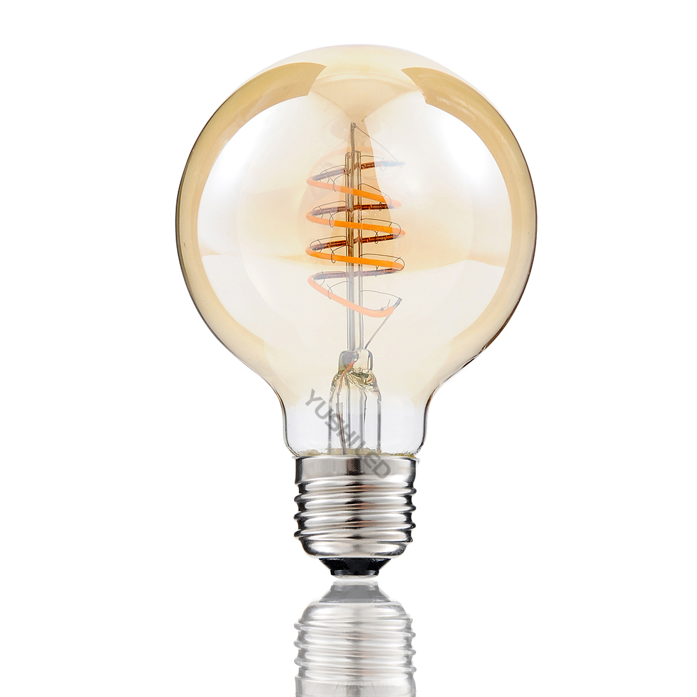 3PACK Dimmable Vintage Flexible Gild Glass LED Filament Bulb G25 G80 Spiral Lamp 2200K 4W LED Bulb 40W Equivalent Edison Bulb 4pcs candle e14 edison led filament bulb c35 vintage spiral lamp warm 2200k soft flexible filament cob led bulb gold tint