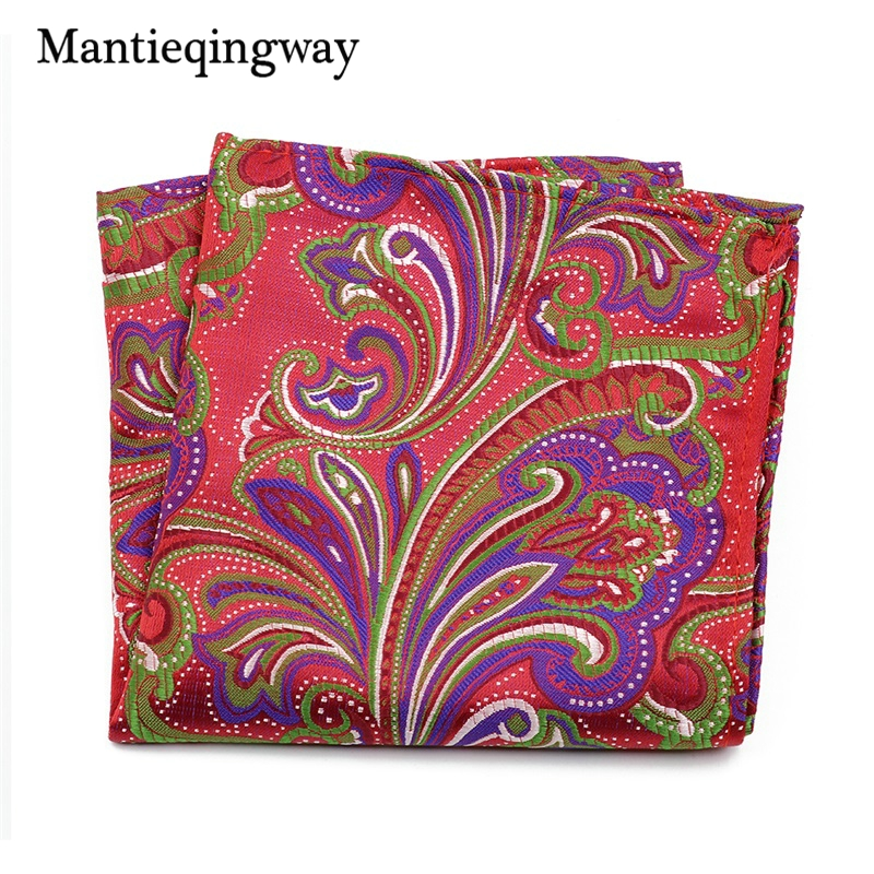 Mantieqingway Business Paisley Floral Printed Handkerchiefs For Mens Pocket Square Polyester Plaid Striped Chest Towel Hanky