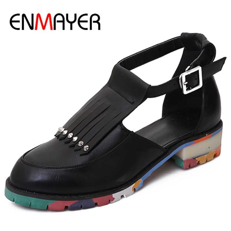 ФОТО ENMAYER New Tessals Charms Ankle Strap Shoes Woman Low Heels Summer Sandals Size 34-47 Casual Shoes Open Toe Platform Shoes
