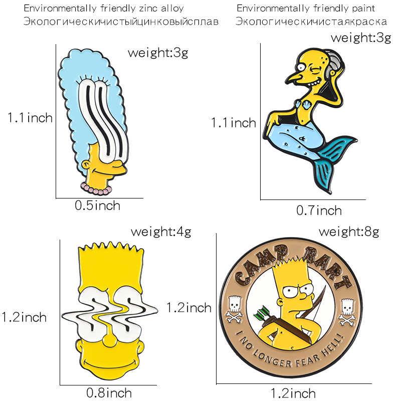 Qihe Perhiasan Simoom-Anak Keluarga Pin Mr Luka Bakar Bart Simpson Marge Simpson Kerah Pin Vintage Acara TV 90S perhiasan