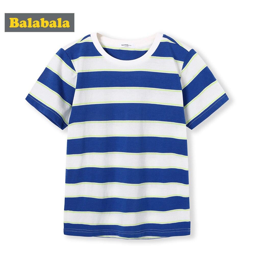 T-Shirt Balabalachildren-Wear Short-Sleeve Striped Cotton Summer New Boy Dress Round-Neck
