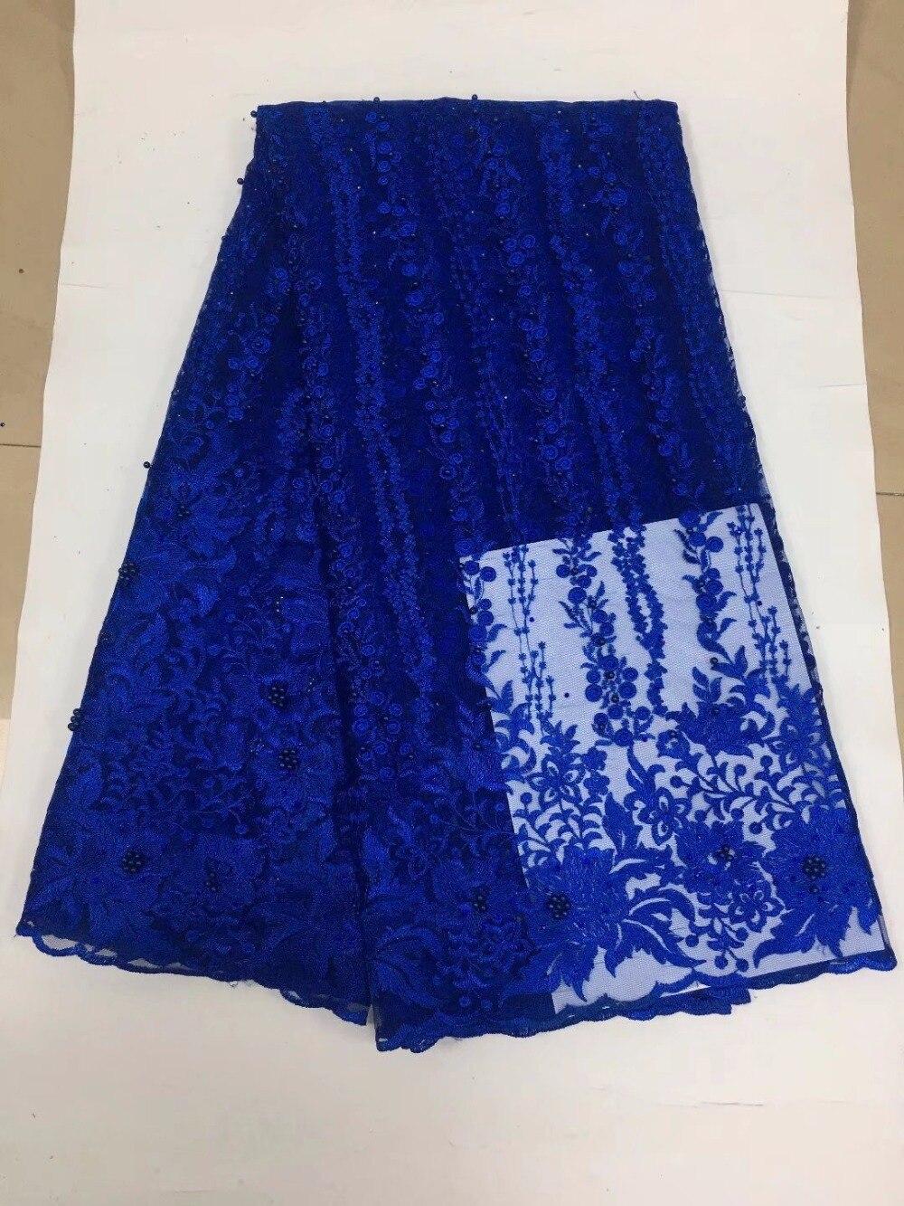 Belo tule tecido de renda líquida africano com contas de alta qualidade tecido laço francês africano para o vestido de casamento yda082 - 4