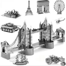 Puzzle 3D Metal Kits Model Set DIY Laser Cut Assembly Jigsaw Ford Himeji Castle Transformation Robot Puzzle Intellectual Toys(China)