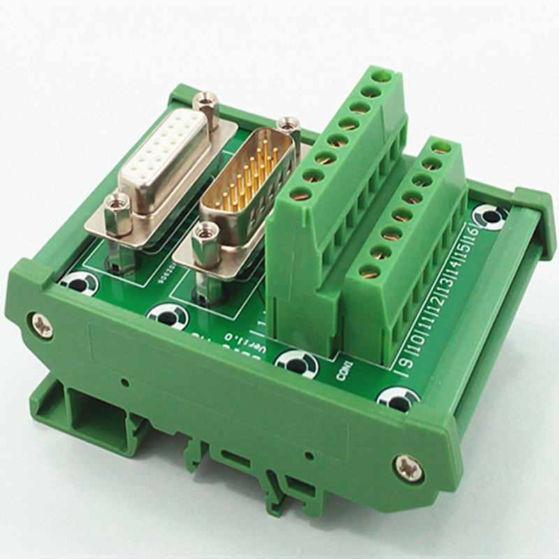 <font><b>DB15</b></font> <font><b>D</b></font> <font><b>Sub</b></font> DIN Rail Mount Interface Module, Male / Female, Breakout Board. image