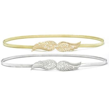 70x1cm Women Ultra-Thin Skinny Waistband Rhinestone Decor Carved Metal Angel Wings Buckle Elastic Stretchy Waist Belt Gold/Silve Bridal Blets