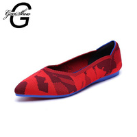 GENSHUO Casual Flat Shoes For Women New Autumn Breathable Comfortable Soft soled Shoes Pointed Toe Shallow Red Flat Women Shoes