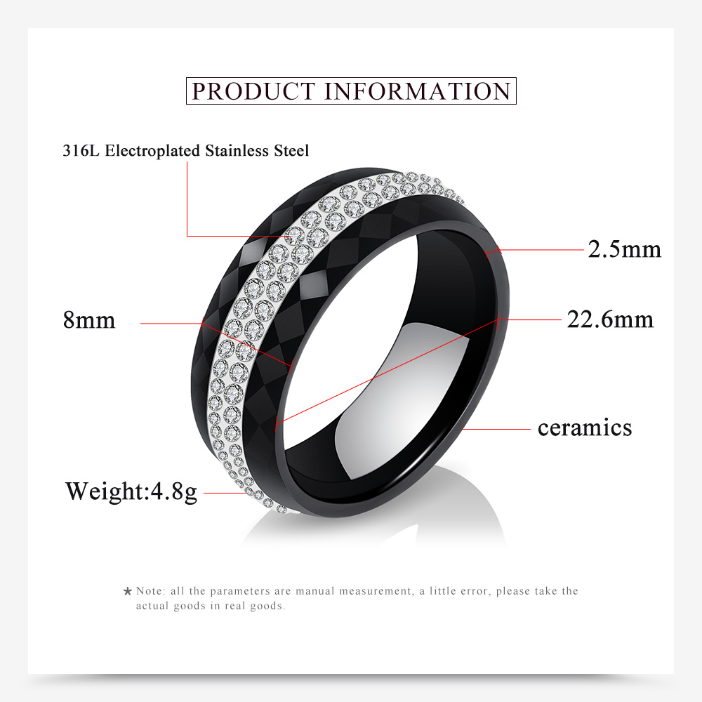 High Quality Black And White Simple Style Simply Crystal Ceramic Rings for Women 3