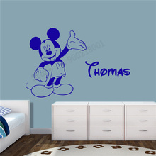 Art  Wall Sticker Mouse Cartoon Wall Decoration Vinyl Art Removeable Poster Beauty Cute Animal Mural Kids Room Ornament LY213 цена