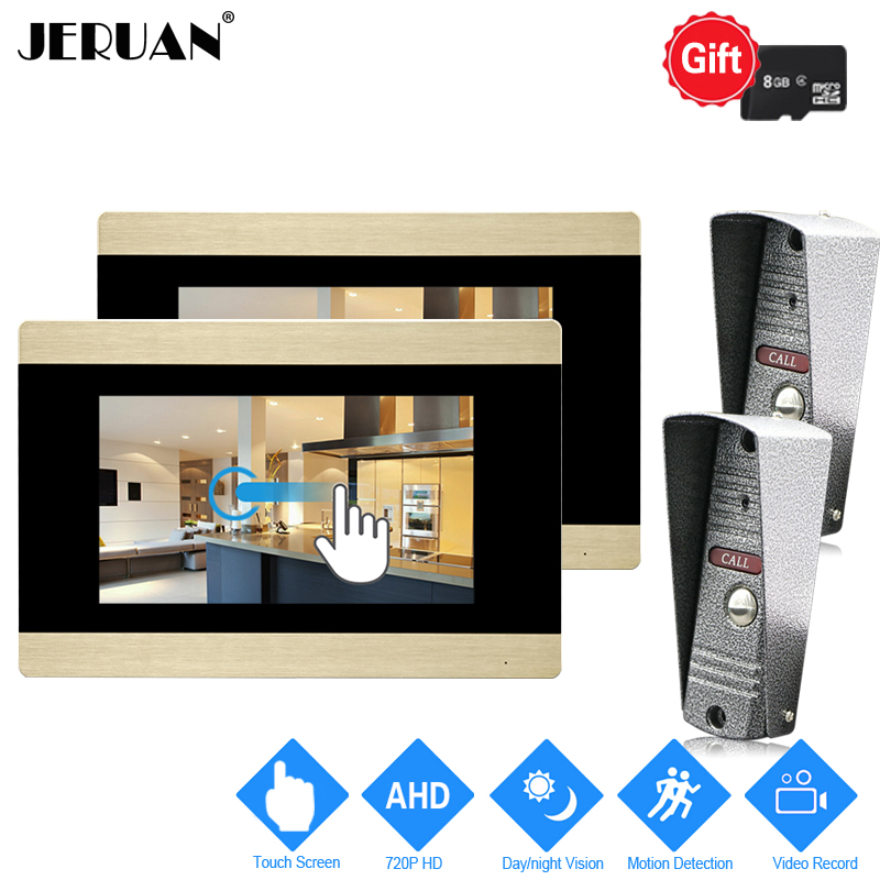 JERUAN 720P AHD HD Motion Detection 7`` Touch Screen Video Doorbell Unlock Intercom System 2 Record Monitor + 2 Mini Camera 2V2 jeruan 720p ahd motion detection 7 touch screen video door phone doorbell intercom system 2 record monitor hd ir mini camera