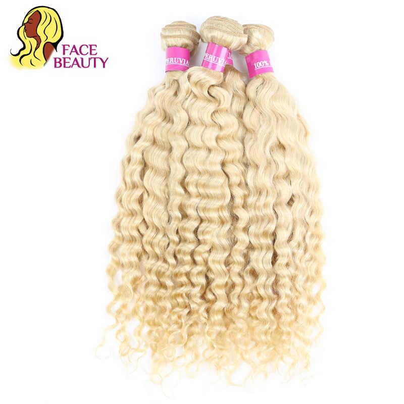 Facebeauty 613 Kleur Haar Inslag Blonde Braziliaanse Diepe Golf Bundel 12 - 28 Inch Remy Menselijk Haar Weave Platinablond 1/3/4 Bundel
