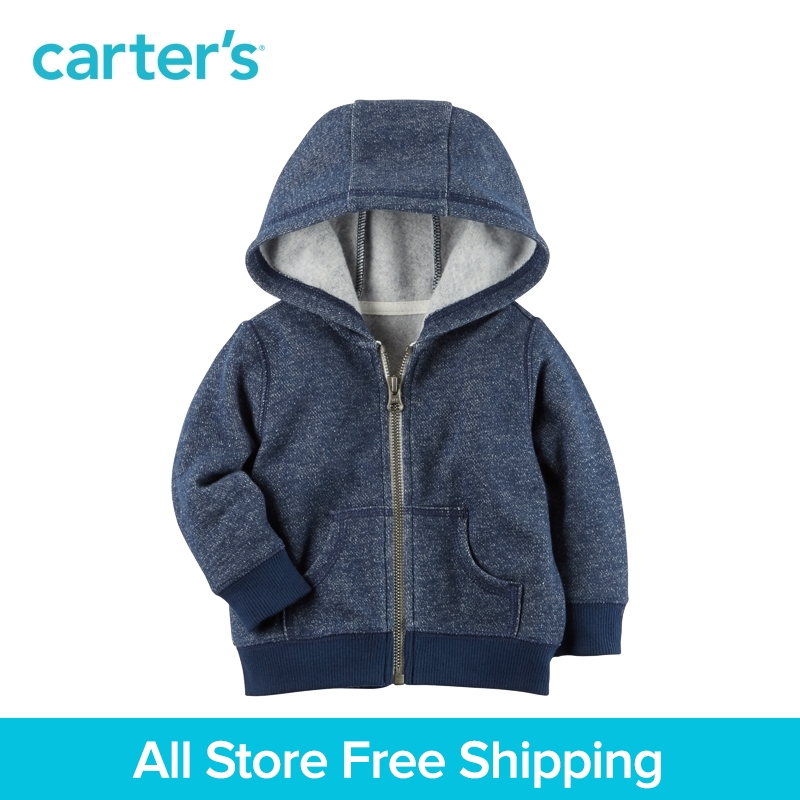 Carter's 1-Piece baby children kids clothing Boy Spring & Fall Brushed Fleece Zip-Front Hoodie 118H720 цена 2017