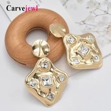 Carvejewl chunky earrings metal irregular geometric drop dangle for women jewelry glass stone unique fashion