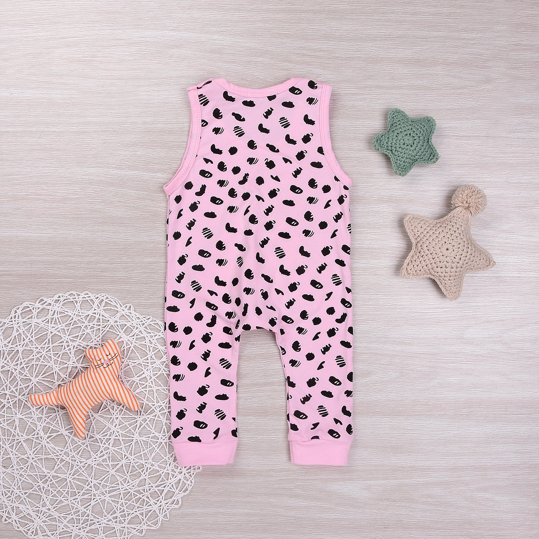 Newborn Baby Girls Pink Romper Bodysuit Cows Spots Conjoined e