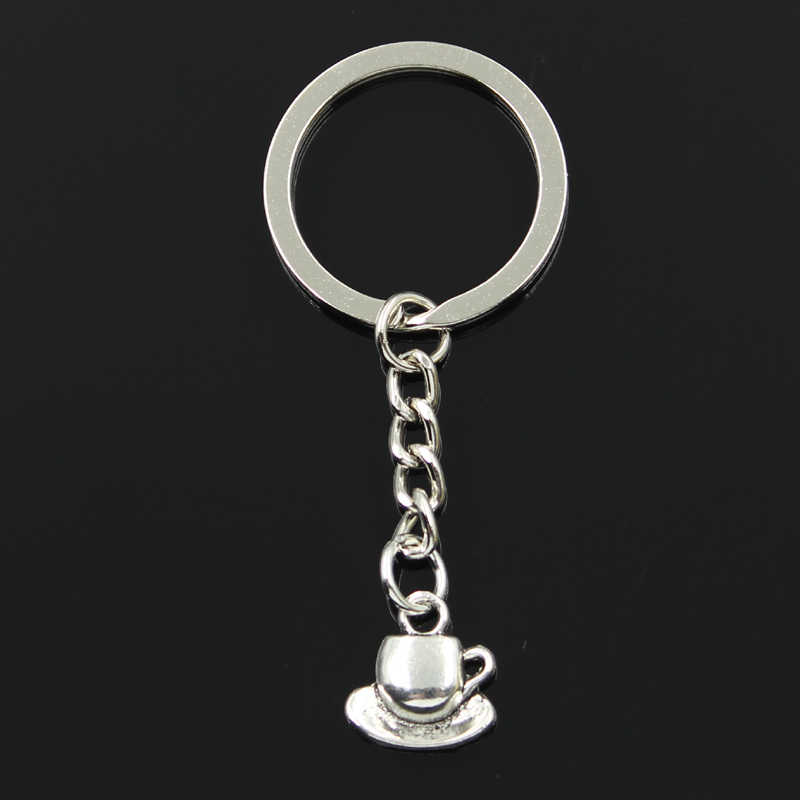 Fashion 30mm Key Ring Metal Key Chain Keychain Jewelry Antique Silver Plated coffee tea cup and saucer 15x14mm Pendant