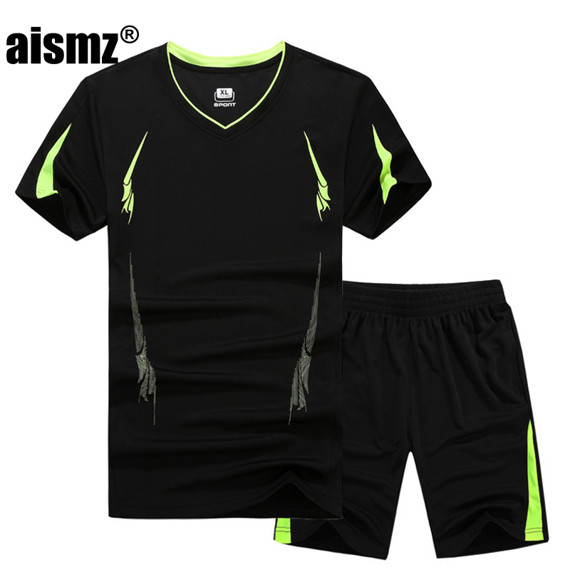 Aismz New Summer Men Set Sporting Suit Short Sleeve T Shirt+Shorts Two Piece Set Sweatsuit Quick Drying Tracksuit For Men M-9XL