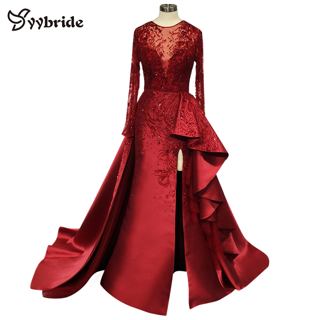 Surmount Customized Sexy Red Dresses O neck Long Sleeves Skirt with Slit Train Red Evening Gown vestidos de festa Prom Dresses