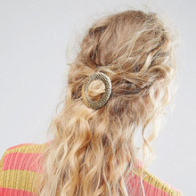 New Style Simple Geometric Round Hollow Gold Color Hair Accessories for Women Fashion Circle Clip Female 2019