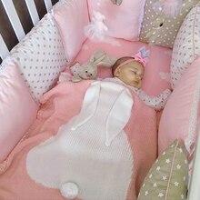 Baby Cute Big Rabbit Ear Swaddling Blanket Soft Warm Knitted Swaddle Kids Bath Towel Baby Toddler Bedding Blankets