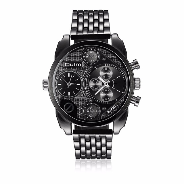 Unique Design Oulm Watches Men Full Steel Dual Time Big Dial Men's Quartz Wrist watch Fashion Casual Sport Wristwatch for Male
