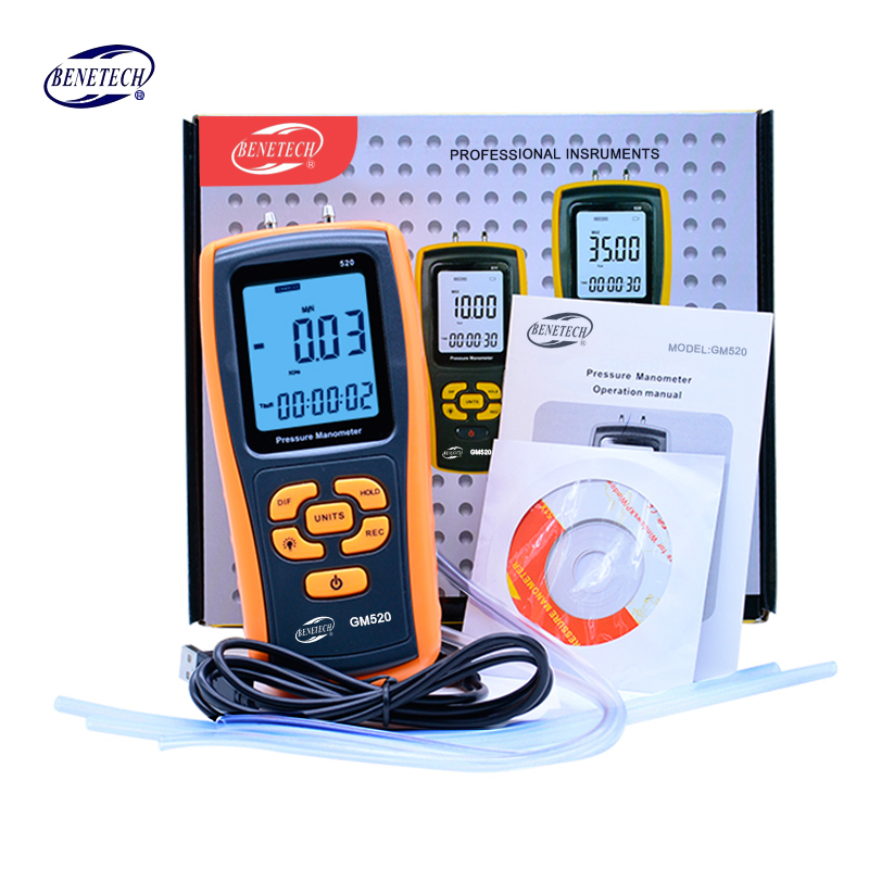 High digital pressure manometer +-10Kpa~35Kpa pressure gauge micro-pressure gauge differential pressure meter GM510/GM511/GM520 lcd pressure gauge differential pressure meter digital manometer measuring range 0 100hpa manometro temperature compensation