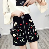 Spring Summer 2017 New Suede Embroidery Skirt High Waist Fashion A Line Skirt Female 008