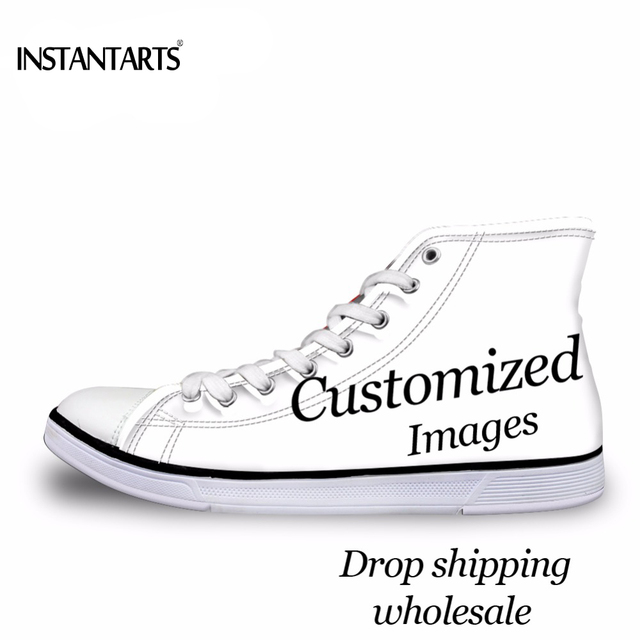 593729707ce8 INSTANTARTS Custom Your Own Logo Image Photo 3D Printing Man High Top  Canvas Shoes Diy Your Own Design Teen Boys Vulcanized Shoe