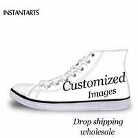 INSTANTARTS Custom Your Own Logo/Image/Photo 3D Printing Man High Top Canvas Shoes Diy Your Own Design Teen Boys Vulcanized Shoe