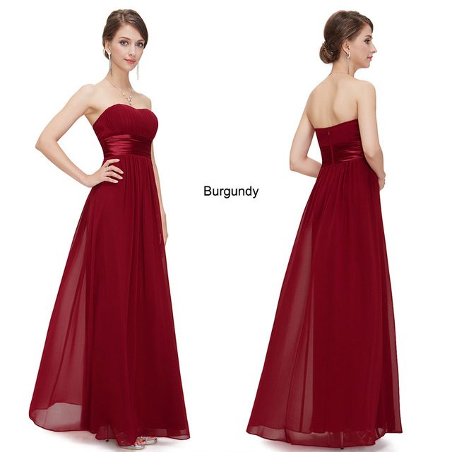 Long Evening Dresses Ever Pretty EP09955 Strapless Ruched Bust Black Chiffon Formal Elegant Evening Dresses Party Gowns