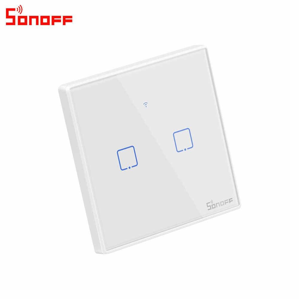 Itead Sonoff T2UK 86 rozmiar 1/2/3 gang seria TX 433Mhz RF kontrolowane przełącznik Wifi smart-domowy przełącznik współpracuje z Alexa Google domu