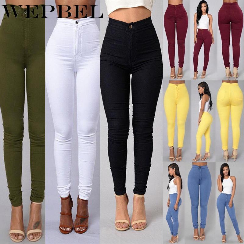 WEPBEL Women Denim Skinny Jeggings Pants High Waist Stretch Jeans Slim Pencil Trousers Wash Skinny Jeans