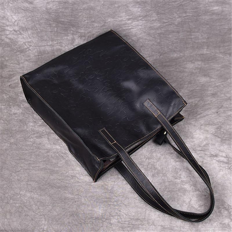 Image 4 - PNDME fashion crazy horse cowhide simple ladies tote bag vintage  genuine leather handbags holdall womens shoulder shopping bag  -