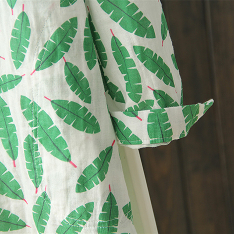 Blusas Completa Ropa Nueva Styel Y Tops Impresas Casual Otoño Algodón Mujeres Blusa Larga 1 Manga Arte Hojas Camisa Floral 2 Fresco 68cAqvw8