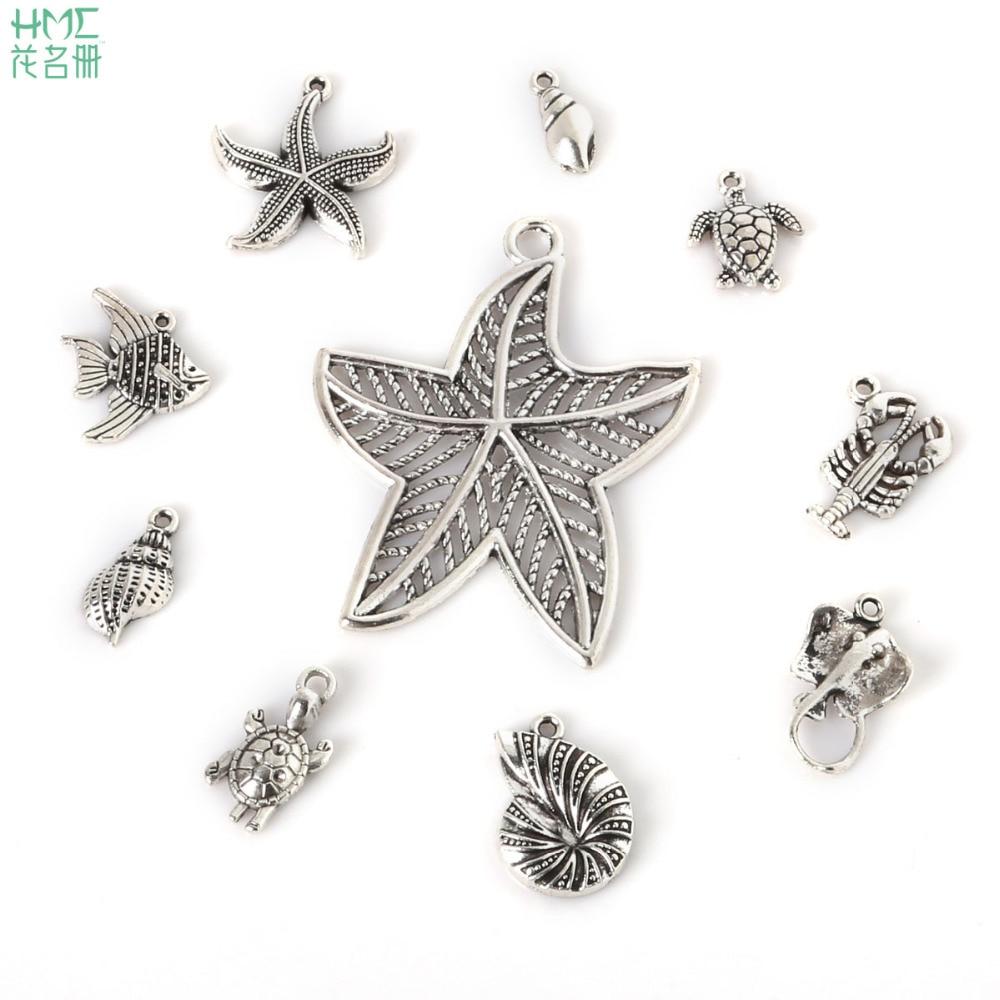 1 ~ 21 Stücke Neue Populäre Ankunft Antikes Silber Überzogen 10 Arten Gemischt Größe Fisch & Dolphin Trendy Charms Schmuck Finden