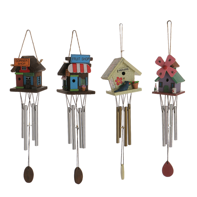 Hot Decorative 4 Copper Tube Windchime Wooden Wind Chime Bell Garden ...